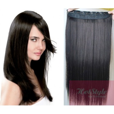"""16"""" one piece full head clip in hair weft extension straight - natural black"""