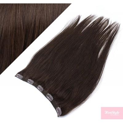 "16"" one piece full head clip in hair weft extension straight - dark brown"