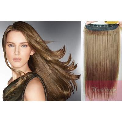 "16"" one piece full head clip in hair weft extension straight - light brown"