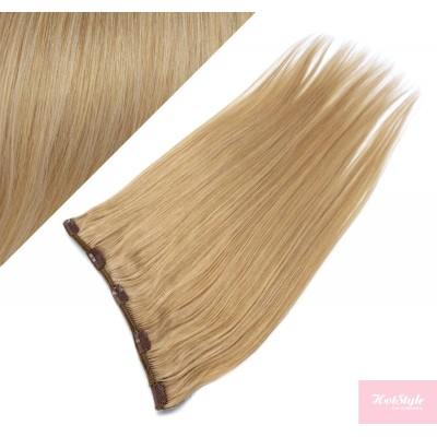 """16"""" one piece full head clip in hair weft extension straight - natural blonde"""