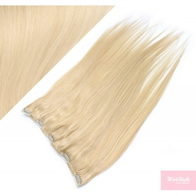"""16"""" one piece full head clip in hair weft extension straight - the lightest blonde"""