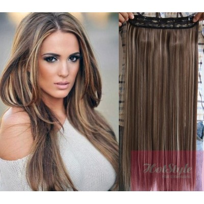 "16"" one piece full head clip in hair weft extension straight - dark brown / blonde"