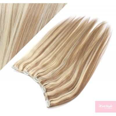 """16"""" one piece full head clip in hair weft extension straight - mixed blonde"""