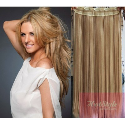 """16"""" one piece full head clip in hair weft extension straight - light blonde / natural blonde"""