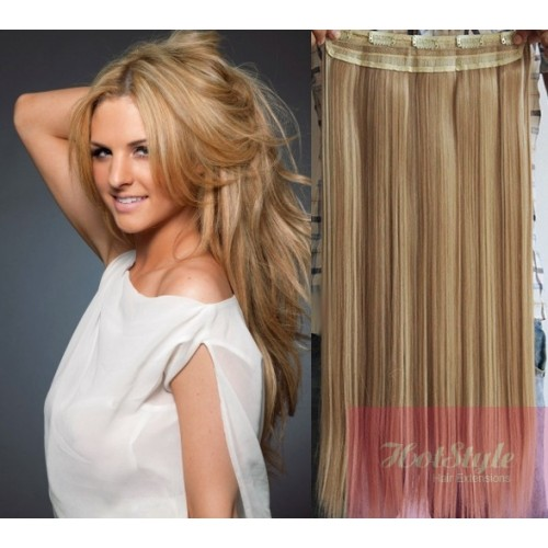 16 One Piece Full Head Clip In Hair Weft Extension Straight Light