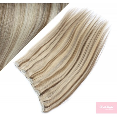 """16"""" one piece full head clip in hair weft extension straight - platinum / light brown"""