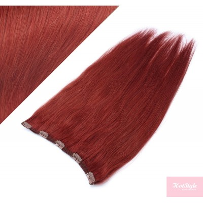"""16"""" one piece full head clip in hair weft extension straight - copper red"""