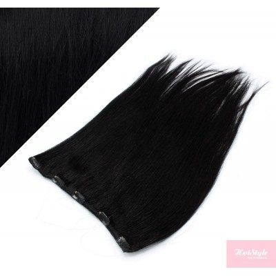 """20"""" one piece full head clip in hair weft extension straight - black"""