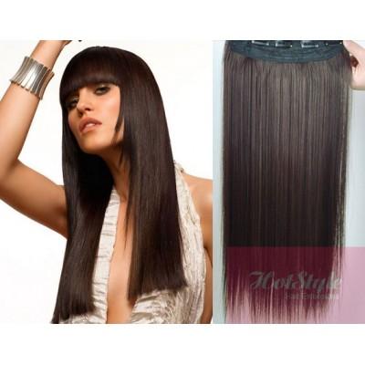 "20"" one piece full head clip in hair weft extension straight - dark brown"
