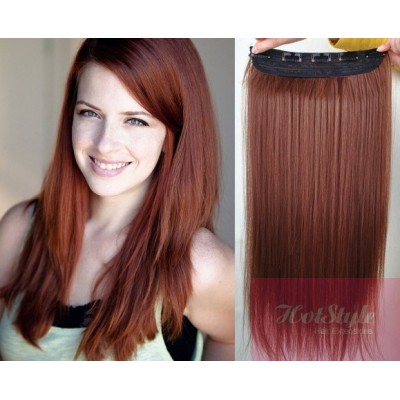"20"" one piece full head clip in hair weft extension straight - copper red"