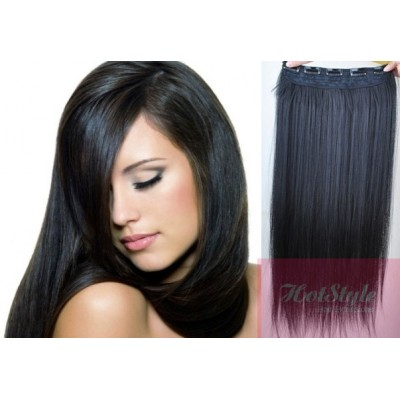 """24"""" one piece full head clip in hair weft extension straight - black"""