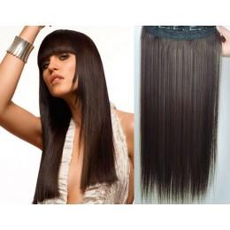 24˝ one piece full head clip in hair weft extension straight – dark brown