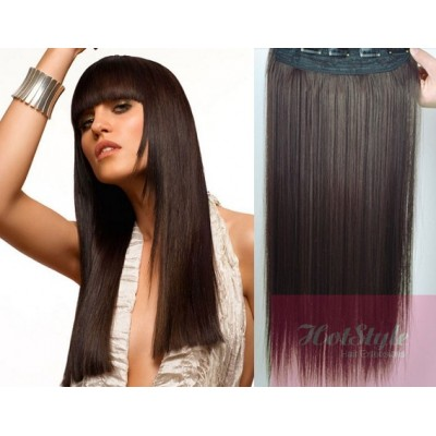 "24"" one piece full head clip in hair weft extension straight - dark brown"
