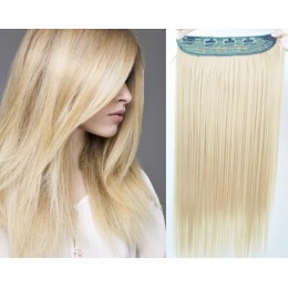 24˝ one piece full head clip in hair weft extension straight – platinum
