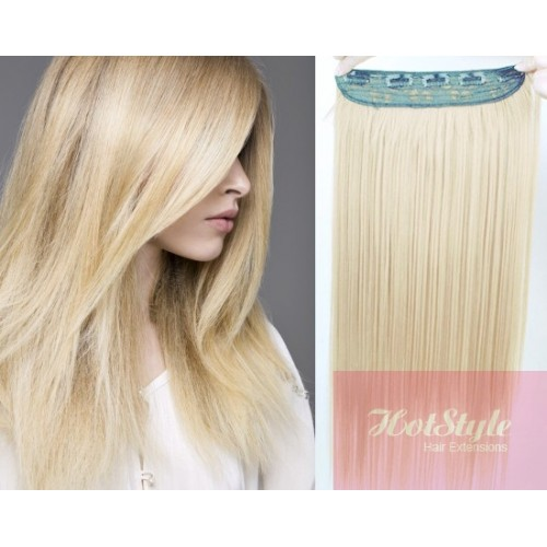 24 One Piece Full Head Clip In Hair Weft Extension Straight Platinum