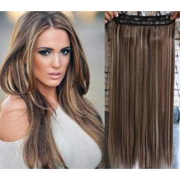 24˝ one piece full head clip in hair weft extension straight – dark brown / blonde