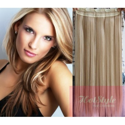 "24"" one piece full head clip in hair weft extension straight - platinum / light brown"