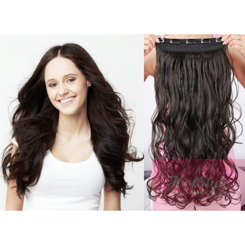 16 One Piece Full Head Clip In Hair Weft Extension Wavy Natural Black