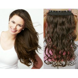 16˝ one piece full head clip in hair weft extension wavy – dark brown