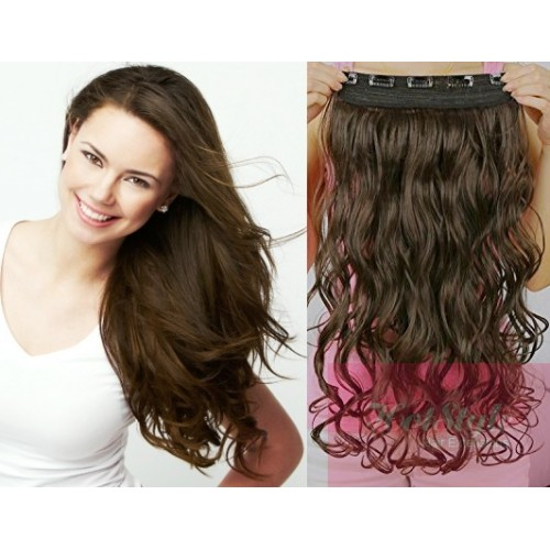 16 One Piece Full Head Clip In Hair Weft Extension Wavy Dark Brown