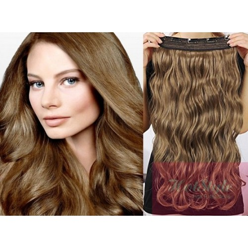 16 One Piece Full Head Clip In Hair Weft Extension Wavy Light Brown