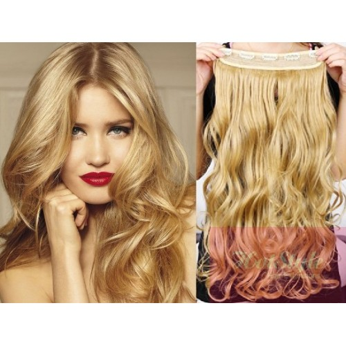 16 One Piece Full Head Clip In Hair Weft Extension Wavy Natural