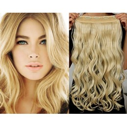 16˝ one piece full head clip in hair weft extension wavy – the lightest blonde