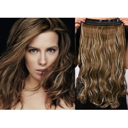 16˝ one piece full head clip in hair weft extension wavy – dark brown / blonde