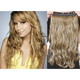 16˝ one piece full head clip in hair weft extension wavy – mixed blonde