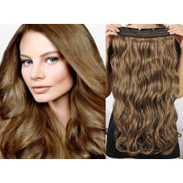 20˝ one piece full head clip in hair weft extension wavy – light brown