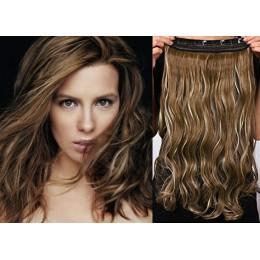 20˝ one piece full head clip in hair weft extension wavy – dark brown / blonde