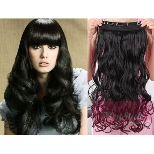 24 One Piece Full Head Clip In Hair Weft Extension Wavy Black