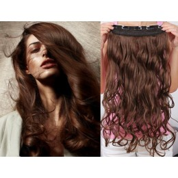 24˝ one piece full head clip in hair weft extension wavy – medium brown