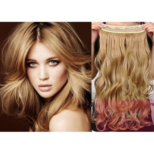 24 One Piece Full Head Clip In Hair Weft Extension Wavy Light