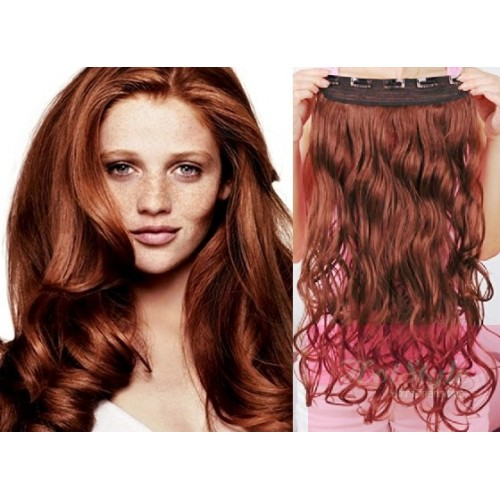 24 One Piece Full Head Clip In Hair Weft Extension Wavy Copper Red
