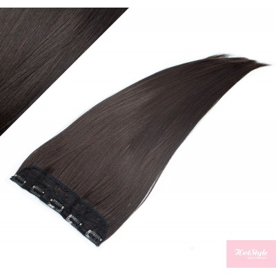 """24"""" one piece full head clip in kanekalon weft extension straight - natural black"""