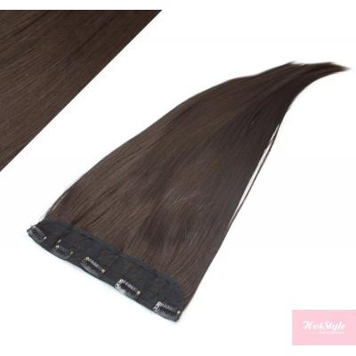 "24"" one piece full head clip in kanekalon weft extension straight - dark brown"