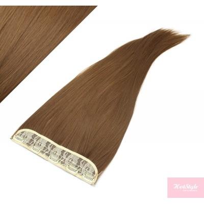 "24"" one piece full head clip in kanekalon weft extension straight - medium brown"