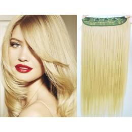 24˝ one piece full head clip in kanekalon weft extension straight – the lightest blonde