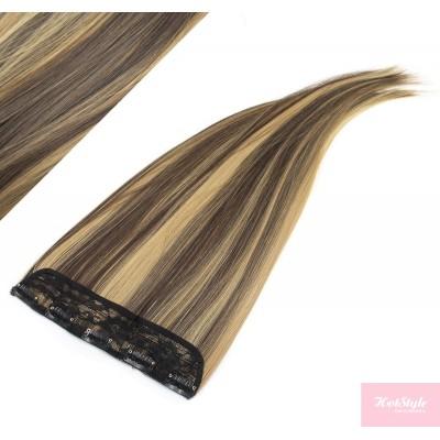"24"" one piece full head clip in kanekalon weft extension straight - dark brown / blonde"