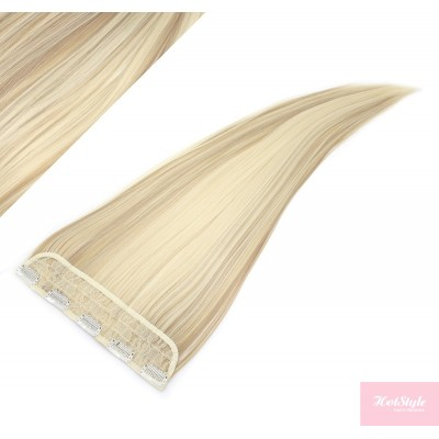 "24"" one piece full head clip in kanekalon weft extension straight - platinum / light brown"