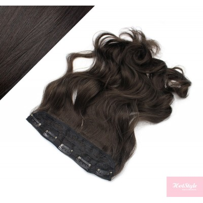 """24"""" one piece full head clip in kanekalon weft extension wavy - natural black"""
