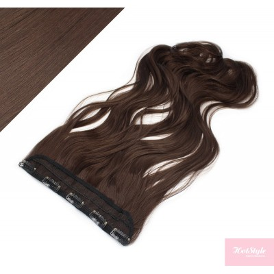 "24"" one piece full head clip in kanekalon weft extension wavy - dark brown"