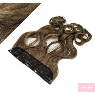 "24"" one piece full head clip in kanekalon weft extension wavy - dark brown / blonde"