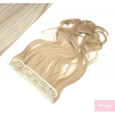 "24"" one piece full head clip in kanekalon weft extension wavy - platinum / light brown"
