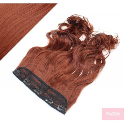 """24"""" one piece full head clip in kanekalon weft extension wavy - copper red"""