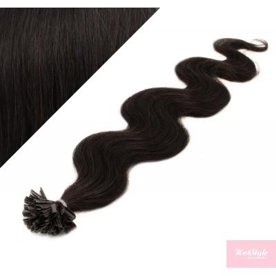 "20"" (50cm) Nail tip / U tip human hair pre bonded extensions wavy - natural black"