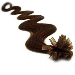 """20"""" (50cm) Nail tip / U tip human hair pre bonded extensions wavy - dark brown"""