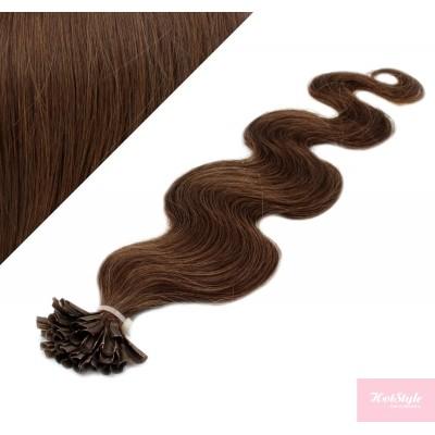 "20"" (50cm) Nail tip / U tip human hair pre bonded extensions wavy - medium brown"