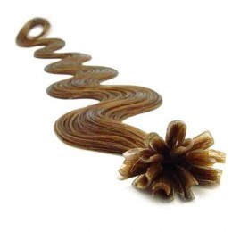 "20"" (50cm) Nail tip / U tip human hair pre bonded extensions wavy - light brown"